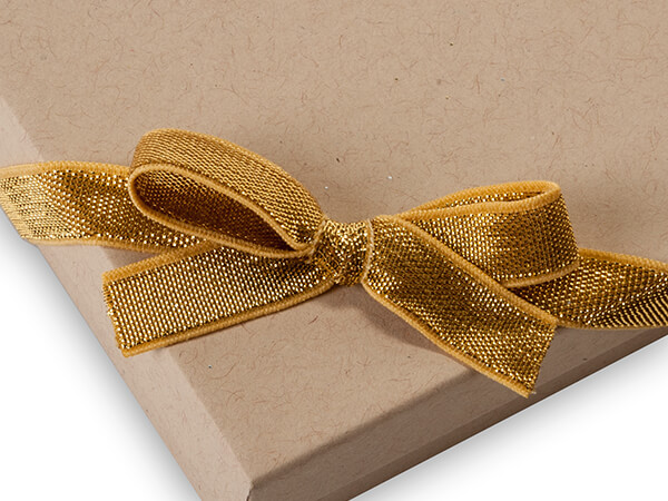 """12"""" Metallic Gold Stretch Wide Loops with Pre-Tied Bows, 50 pack"""