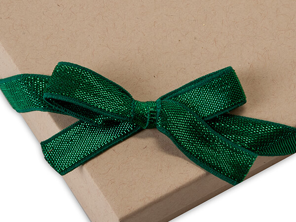 """12"""" Metallic Green Stretch Wide Loops with Pre-Tied Bows, 50 pack"""