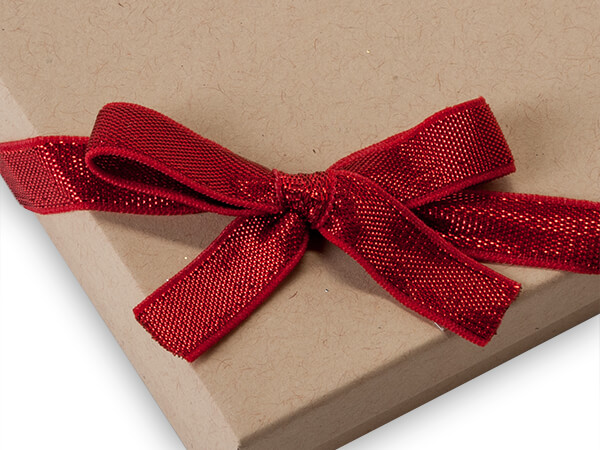 """12"""" Metallic Red Stretch Wide Loops with Pre-Tied Bows, 50 pack"""