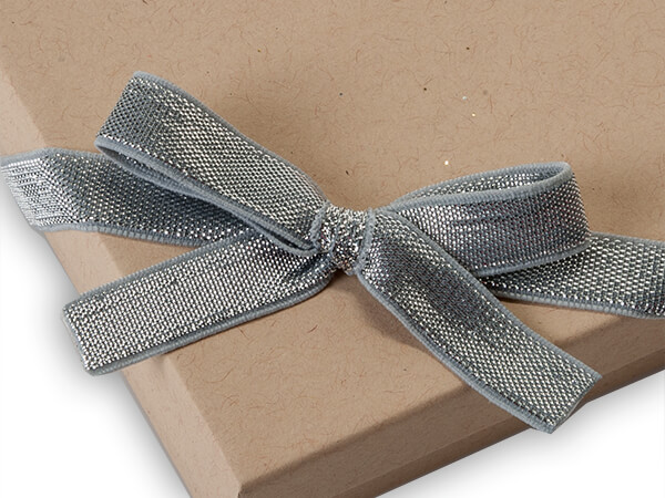 """12"""" Metallic Silver Stretch Wide Loops with Pre-Tied Bows, 50 pack"""