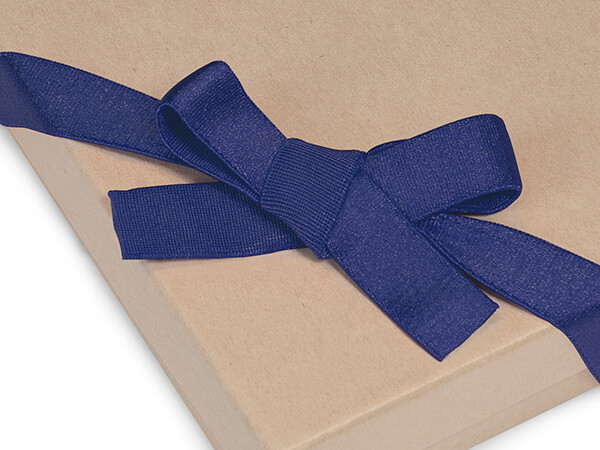 """12"""" Navy Blue Satin Stretch Wide Loops with Pre-Tied Bows, 50 pack"""