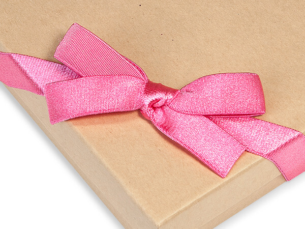 """12"""" Pretty Pink Satin Stretch Loops with Pre-Tied Bows, 50 pack"""