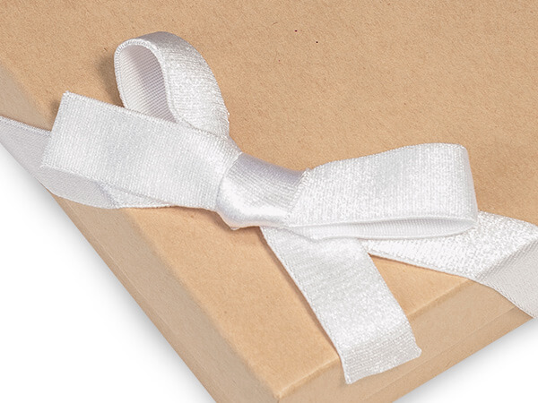 "12"" White Satin Stretch Wide Loops 1/2"" Wide Elastic Loop Pre-Tied Bow"