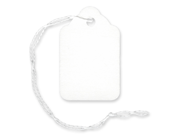 "White Price Tag, 1-1/8 x 1-3/4"", White Strings, 1000 pack"