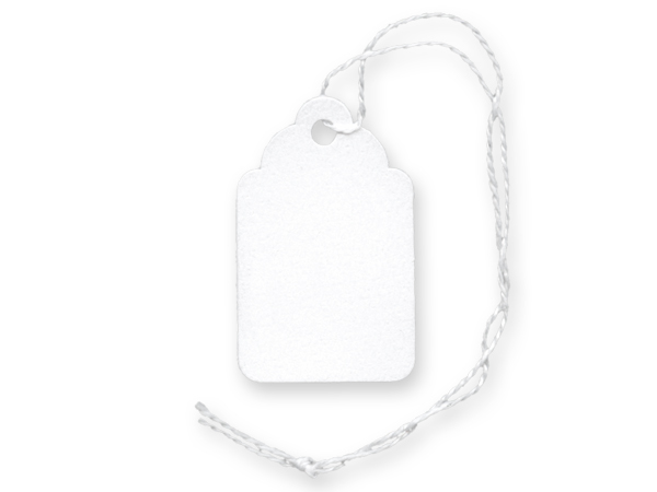 "White Price Tag, 15/16 x 1-1/2"", White Strings, 1000 pack"