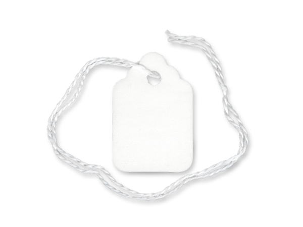 "White Price Tag, 3/4 x 1-1/8"", White Strings, 1000 pack"