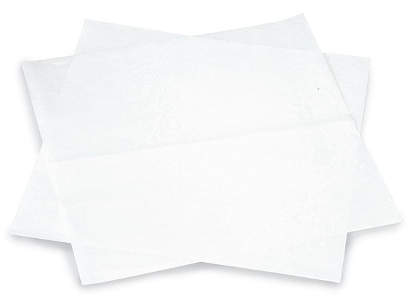 "12x12"" White Food Grade 20# Grease Resistant White Tissue Sheet"
