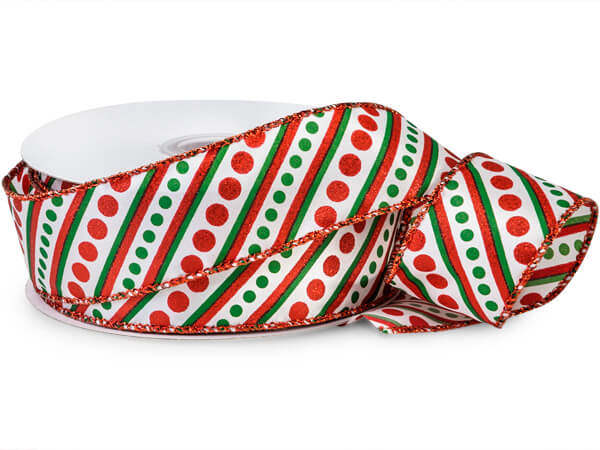"Glitter Red and Green Candy Stripes Satin Wired Ribbon, 1-1/2""x25 yard"