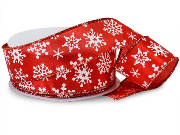 """Snowflake Flurry on Red Satin Wired Ribbon, 1-1/2""""x25 yards"""