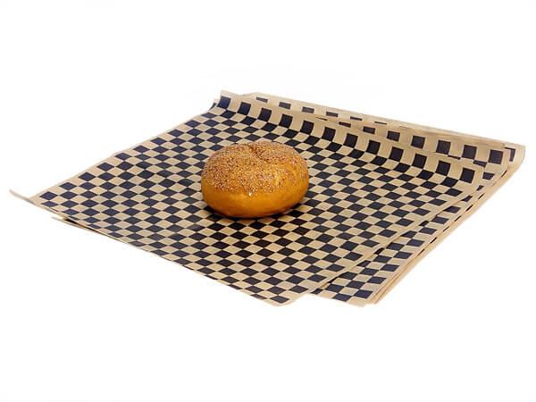 "12x12"" Black Checkerboard Food Grade Grease Resistant Kraft Tissue"