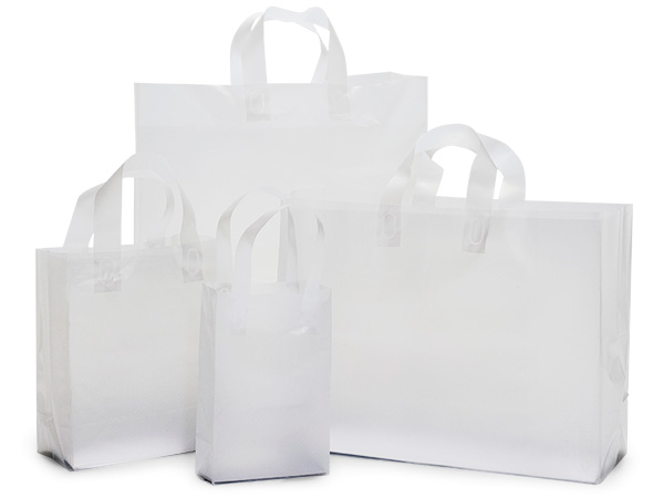 Clear Frosted Plastic Gift Bag Assortment, 125 Pack