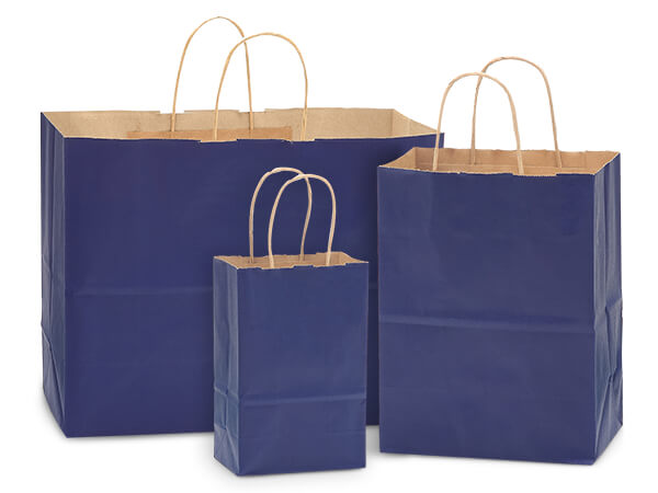 Dark Blue 100% Recycled Kraft Bag Assortment 125 Pack