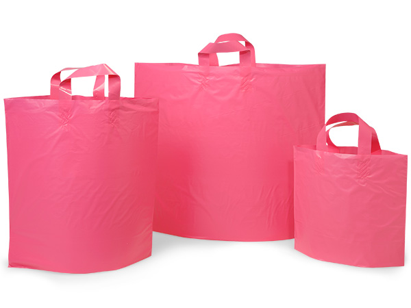 Blazing Pink Plastic Bag Assortment 50 each Piccolo, Mezzo, Colossal