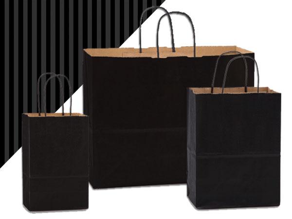 Black Shadow Stripe Kraft Bag Assortment 125 Pack