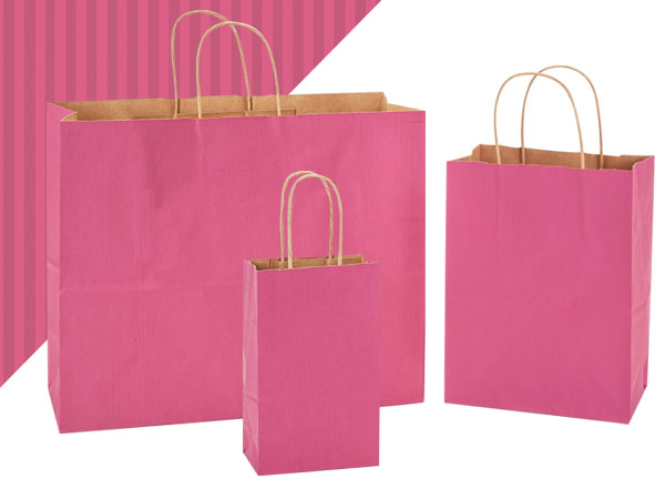 Lipstick Shadow Stripe Paper Shopping  Bags