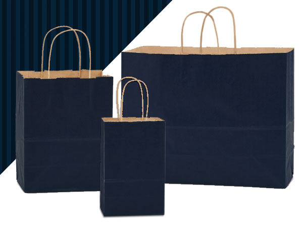 Navy Blue Shadow Stripe Kraft Bag Assortment 125 Pack