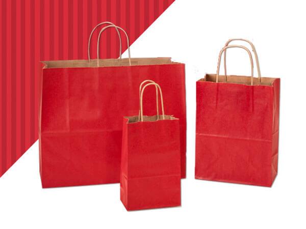 Really Red Shadow Stripe Kraft Bag Assortment 125 Pack