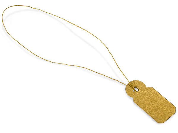 """*Gold Jewelry Price Tags, 3/8 x 13/16"""", Gold Strings, 100 pk"""