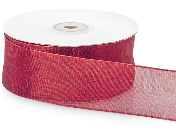 "Red Wired Metallic Mesh Ribbon 1-1/2""x25 yds"