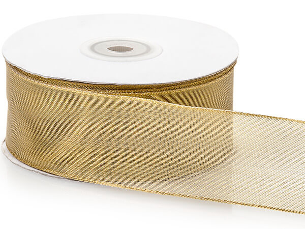 "Metallic Gold  Mesh Wired Ribbon, 1-1/2""x25 yards"