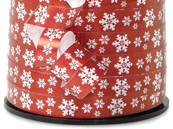 "White Snowflakes on Red Curling Ribbon, 3/8""x250 yards"