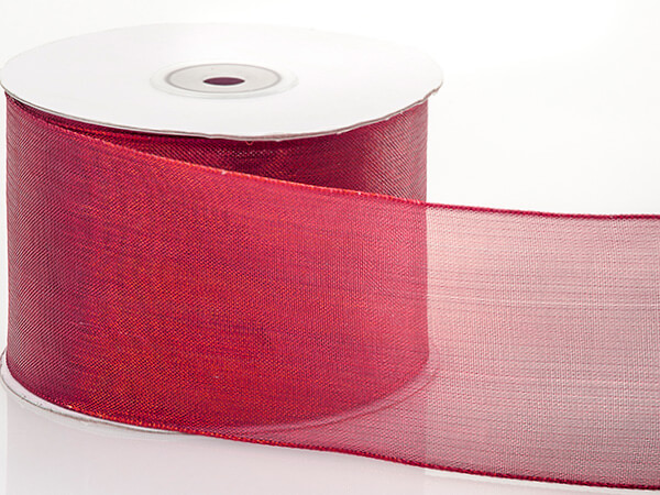 "Metallic Red Mesh Wired Ribbon, 2-1/2""x25 yards"