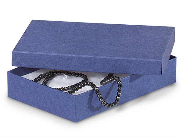 "Blue Kraft Jewelry Gift Boxes, 5.5x3.5x1"", 100 Pack, Cotton Fill"