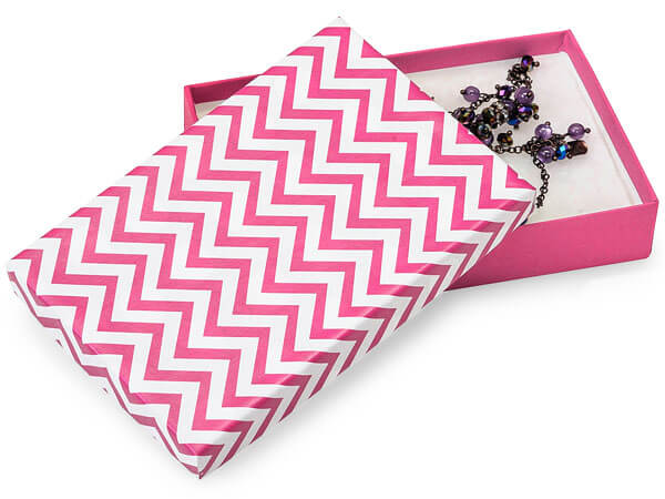 "Calypso Pink Chevron Jewelry Boxes, 5.5x3.5x1"", 100 Pack, Cotton Fill"