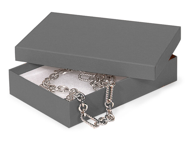 "Charcoal Gray Jewelry Gift Boxes, 5.5x3.5x1"", 100 Pack, Cotton Fill"