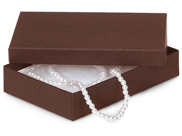 "Chocolate Embossed Jewelry Boxes, 5.5x3.5x1"", 6 Pack, Fiber Fill"