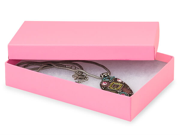 "Calypso Pink Jewelry Gift Boxes, 5.5x3.5x1"", 100 Pack, Cotton Fill"