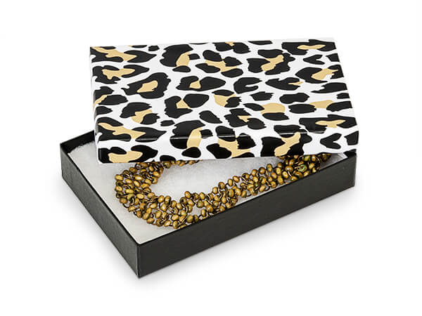 """Golden Leopard Jewelry Gift Boxes, 5.5x3.5x1"""", 100 Pack, Fiber Fill"""