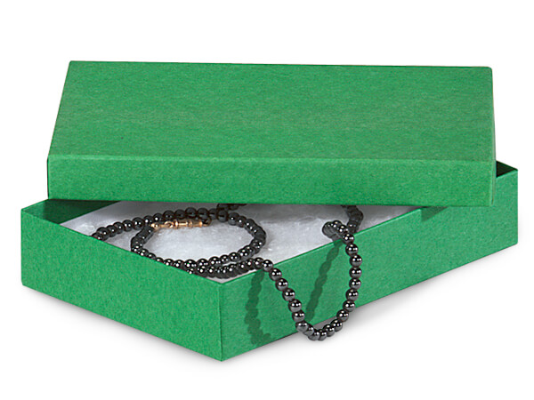 """Green Kraft Jewelry Gift Boxes, 5.5x3.5x1"""", 100 Pack, Cotton Fill"""
