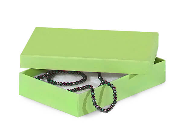 "Light Green Jewelry Gift Boxes, 5.5x3.5x1"", 100 Pack, Cotton Fill"