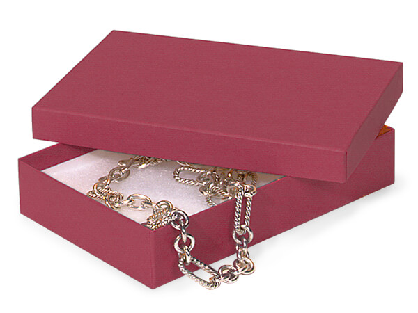 """Merlot Jewelry Gift Boxes, 5.5x3.5x1"""", 100 Pack, Cotton Fill"""
