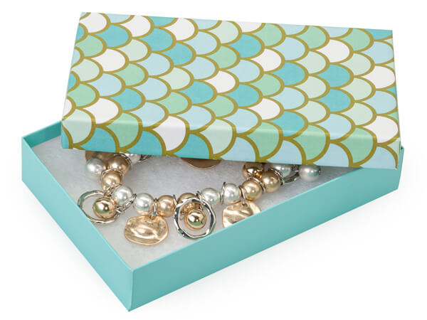 "Mermaids Paradise Jewelry Gift Box, 5.5x3.5x1"", 100 Pack, Cotton Fill"