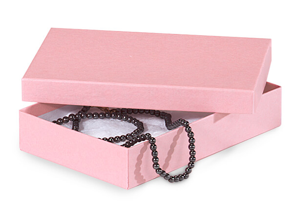 "Pink Kraft Jewelry Gift Boxes, 5.5x3.5x1"", 100 Pack, Cotton Fill"