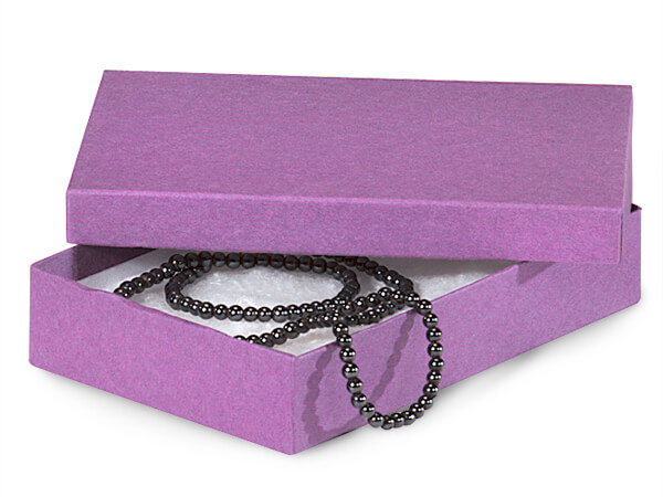 "Purple Kraft Jewelry Gift Boxes, 5.5x3.5x1"", 100 Pack, Cotton Fill"