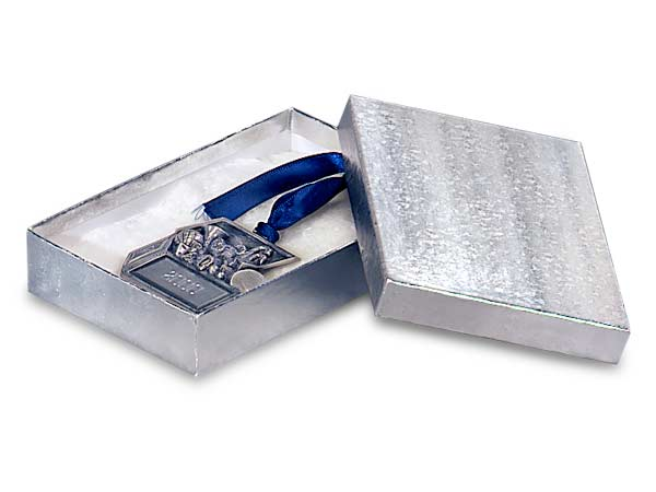 "Silver Embossed Foil Jewelry Boxes, 5.5x3.5x1"", 100 Pack, Cotton Fill"