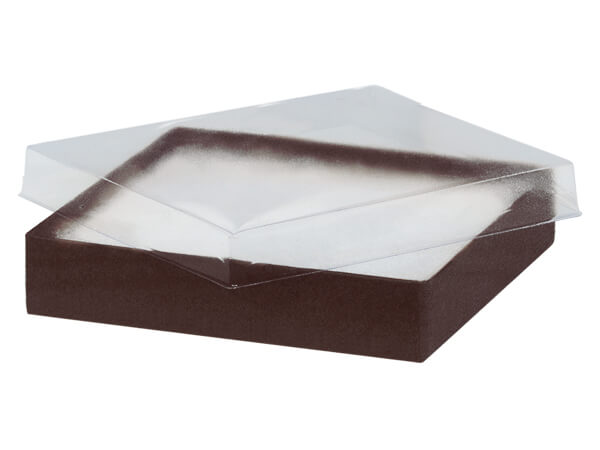 "Clear Lid Chocolate Base Gift Box, 5.5x3.5x1"", 100 Pack, Cotton Fill"