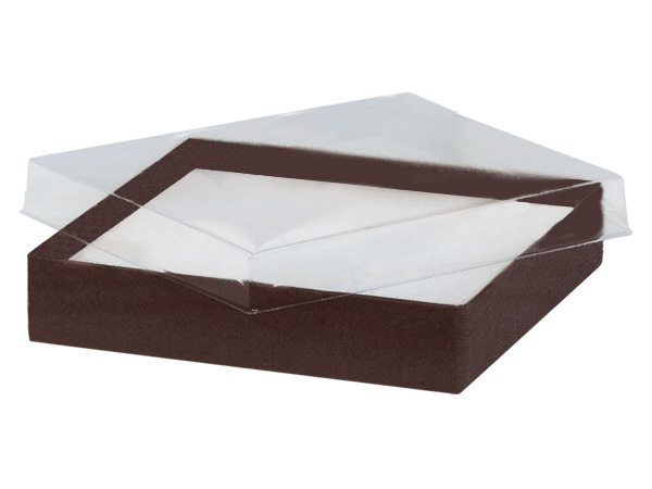 "5-1/2x3-1/2x1"" Clear Lid Boxes With Chocolate Bases"