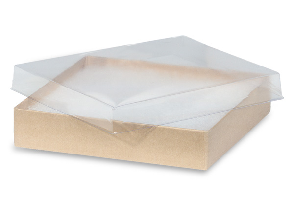 "Clear Lid Kraft Base Jewelry Boxes, 5.5x3.5x1"", 100 Pack, Cotton Fill"