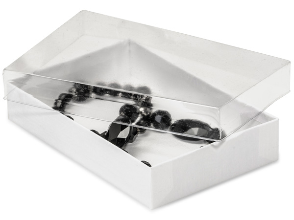 "5-1/2x3-1/2x1"" Clear Lid Boxes With White Swirl Base"