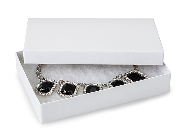 "White Kraft Recycled Jewelry Boxes, 5.5x3.5x1"", 100 Pack, Cotton Fill"