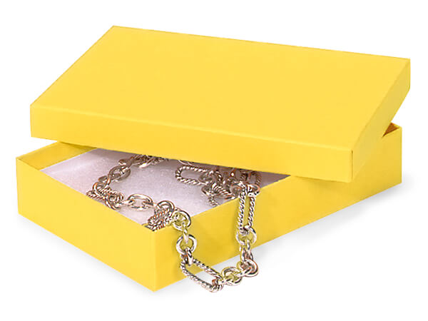 "Yellow Jewelry Gift Boxes, 5.5x3.5x1"", 100 Pack, Cotton Fill"