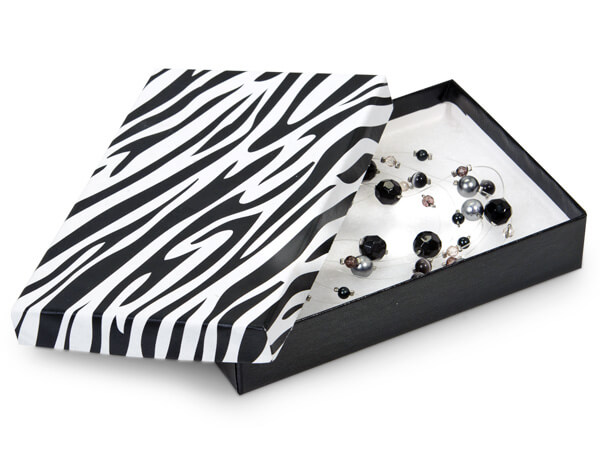 "Zebra Jewelry Gift Boxes, 5.5x3.5x1"", 100 Pack, Cotton Fill"