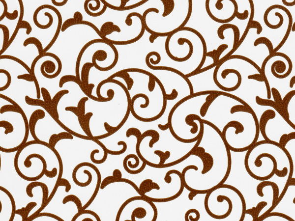 "*Chocolate Scroll on White 24""x85' Gift Wrap"