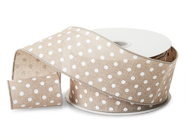 """Natural Brown Linen with White Polka Dots, 2-1/2"""" x 25 yards"""