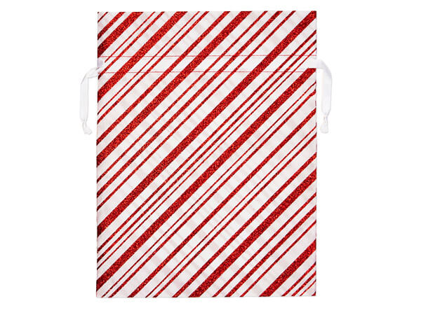 Candy Cane Stripe with Red Glitter Accents Gift Bags