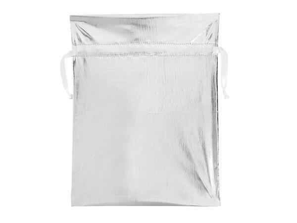 Metallic Silver Fabric Gift Bags